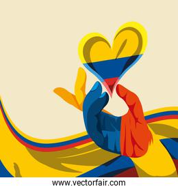 hand heart Colombia flag