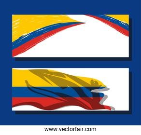 Colombia flags banners