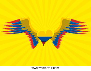 Colombia flag wings heart