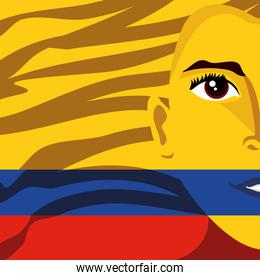 face on Colombia flag