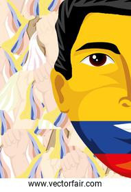 face painted with flag of Colombia