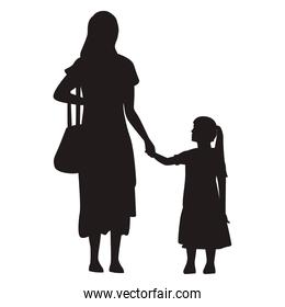 mother and daughter standing