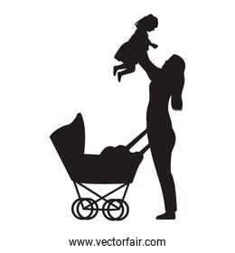 mother lifting baby daugther