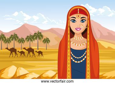 arabic bride and camels