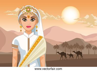 camels and arabic bride
