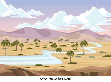 desert with river