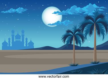 desert with mosque