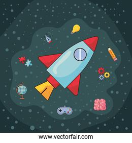 rocket and creative icons