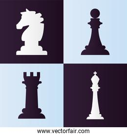 four chess pieces