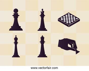 six chess pieces