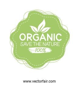 Organic save the nature seal stamp