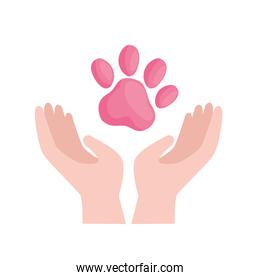 Cute pink dog print over hands