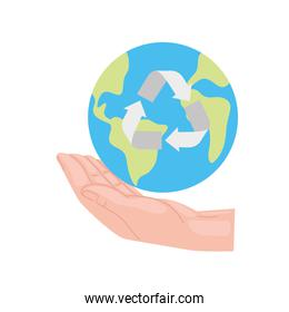 Recycle earth world over hand