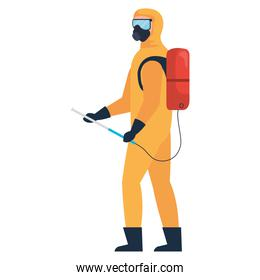 Isolated disinfection man