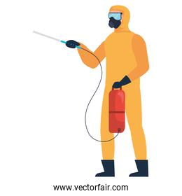 Isolated disinfection person