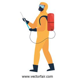 man with protective suit