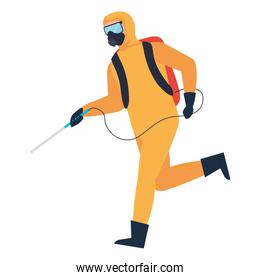 Isolated man disinfecting