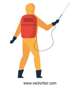man disinfecting with equipment