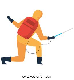 Man disinfecting on white background