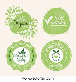 Organic natural labels icon collection