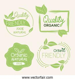 Organic natural labels symbol collection