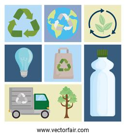 Recycle icon group
