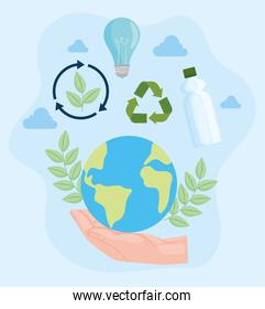 Earth with recycle icon set