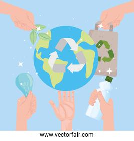 Earth with recycle icons
