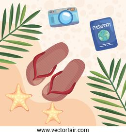 sandals and icon set