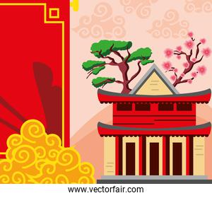 chinese building flower