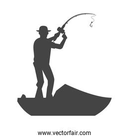 fisher standing silhouette