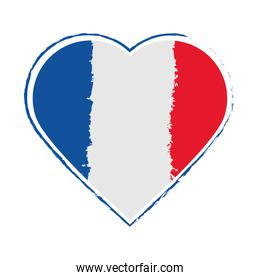french flag in heart