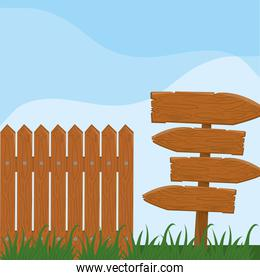 wooden fence guidepost