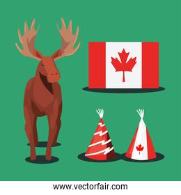 Canadian flag hats and reindeer