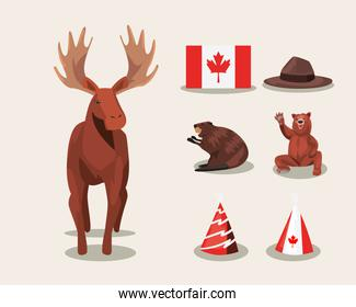 Canadian reindeer with icons