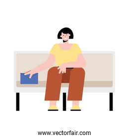 woman seated in subway