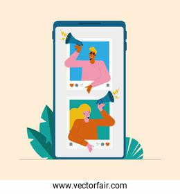 influencers couple in smartphone