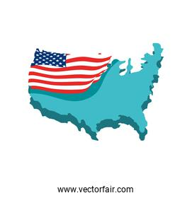 american flag on map