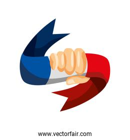 hand with french flag