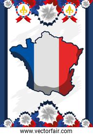 french map flag banner