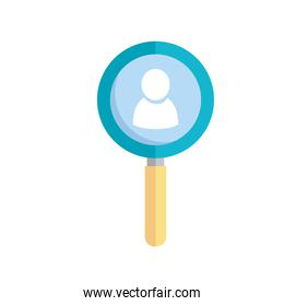 magnifying glass with user