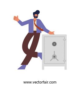 rich man with safebox