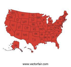 red usa map