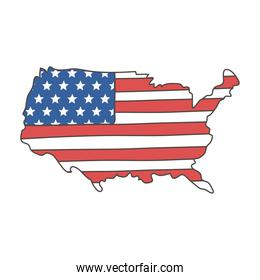american flag in map