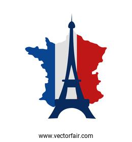 france map flag and eiffel tower