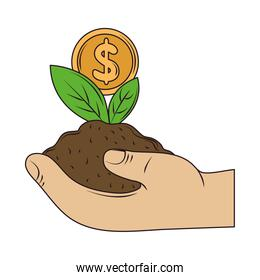 hand with plant coin