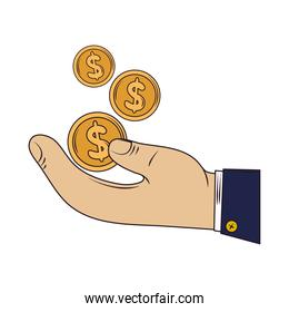 hand with coins investment