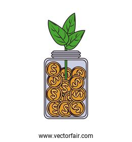investment coins in jar