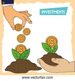 invest hands with coins