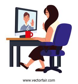 woman making interview video call